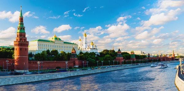 Panoramautsikt mot Moskvas Kreml og Moskvaelven, Russland