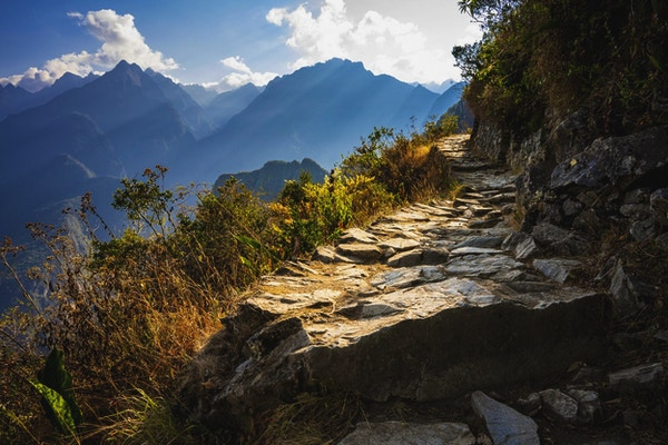 Solen stråler gjennom skogen ved siden av en delvis opplyst Inca-sti