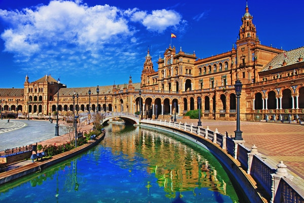 Vakre Plaza De Espana, Sevilla.