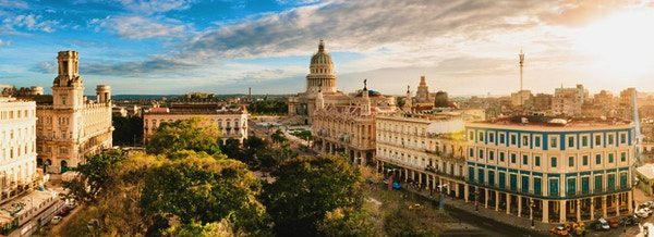 Panoramic image of Old Havana skyline at sunset, Cuba