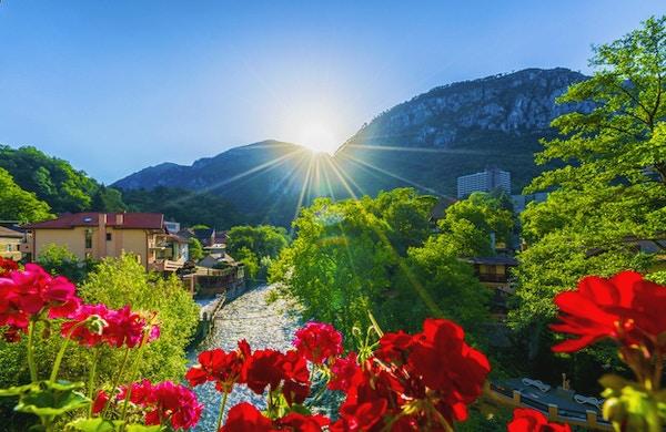 Cerna Valley ved soloppgang, Domogled National Park, Baile Herculane, Romania