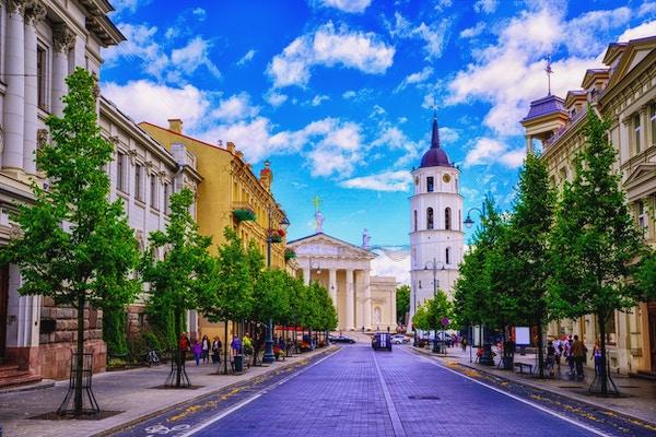 Katedralplassen sett fra Gediminas Avenue, hovedgaten til Vilnius, Litauen, et populært sted for shopping og spisesteder