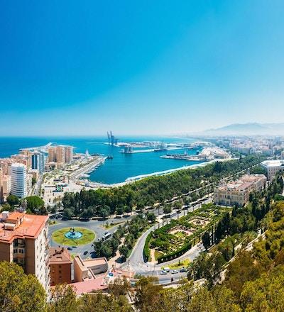 Panorama, bybild, luftfoto, av, Malaga, Spania. Plaza de Toros de Ronda tyrefekting i Malaga, Spania.