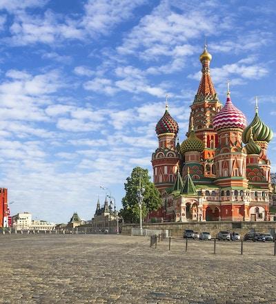 Moskva Kremlin, Spasskaya Tower og St. Basil-katedralen. Rød firkant. Russland