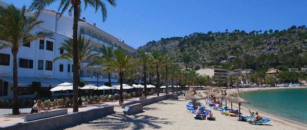Utsikt over stranden i Puerto Soller fra Hotel Marina Soller