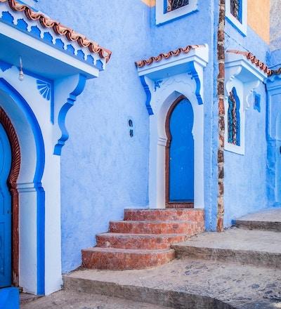 Den vakre, blå medinaen i Chefchaouen i Marokko