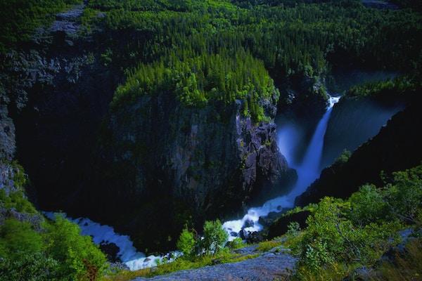 Rjukanfossen i Norge sett ovenfra