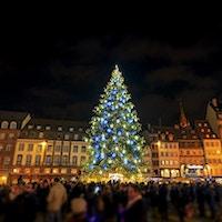 Stort juletre i julehovedstaden, Strasbourg, Alsace, Frankrike. Julen 2016