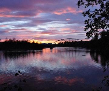 Solnedgang ved Rundhaug Gjestegård.