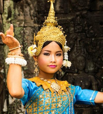 En kvinnelig asparadanser i Angkor Wat, Kambodsja.