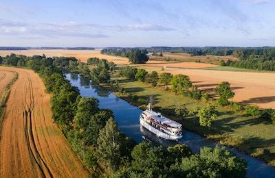 båt, kanal, eng, trær