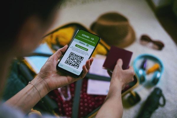Ukjennelig kvinne som bruker digital pass-app på mobiltelefonen for reiser under COVID-19. Åpen koffert. Forbereder reise på nytt normalt.