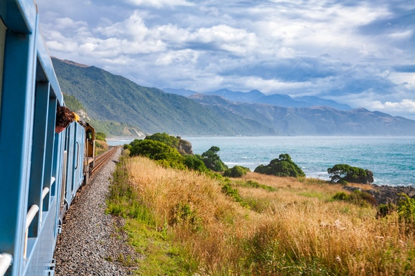 Naturskjønn togtur langs stillehavskysten i Canterbury regoin, Sørøya på New Zealand