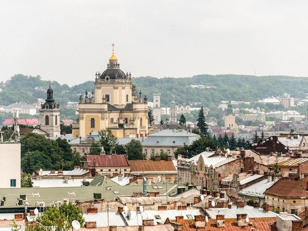 Utsikt til St. Georges Katedral i Lviv.