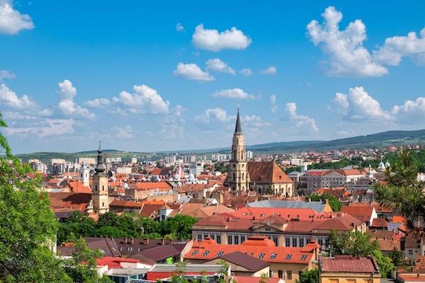 Utsikt over sentrum i Cluj Napoca, Romania