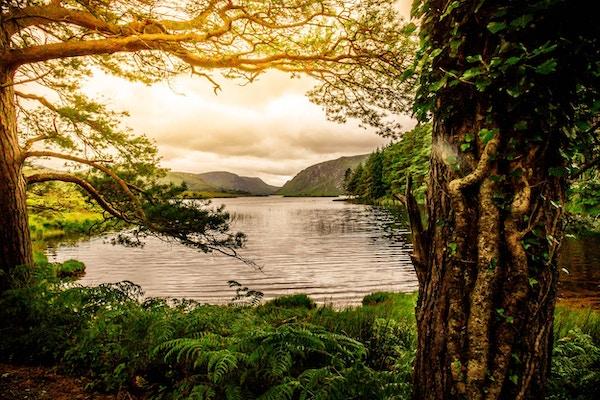 Sterkt sollys over rolig innsjø i Killarney nasjonalpark, Irland