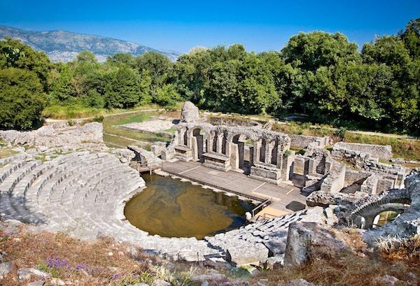 Amfiteater i Butrint. Dette arkeologiske nettstedet er verdensarvsted av UNESCO.
