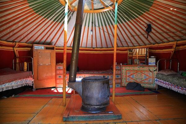 Innsiden av en lokal ger tatt på steppen av Mongolia