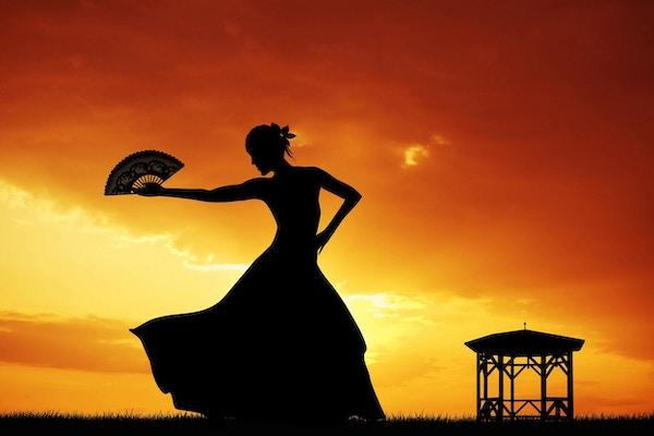 Illustrasjon av flamencodans i solnedgang