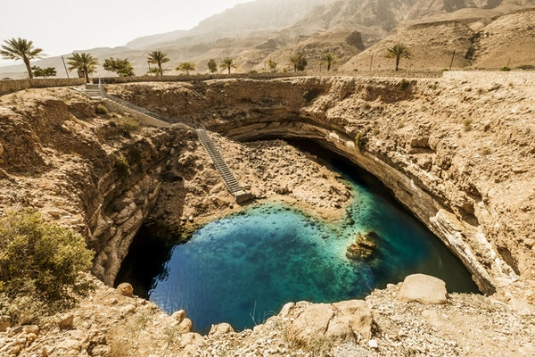 Den berømte turistattraksjonen, Bimmah Sinkhole.