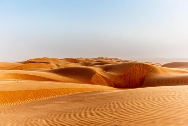 Sanddynene i Wahiba Sands-ørkenen i Oman ved solnedgang under en typisk sommersandstorm - 20
