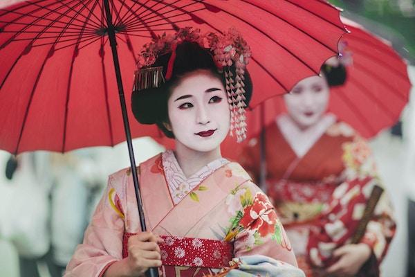 Maiko-jenter, Geisha-lærlinger i Kyoto, Japan