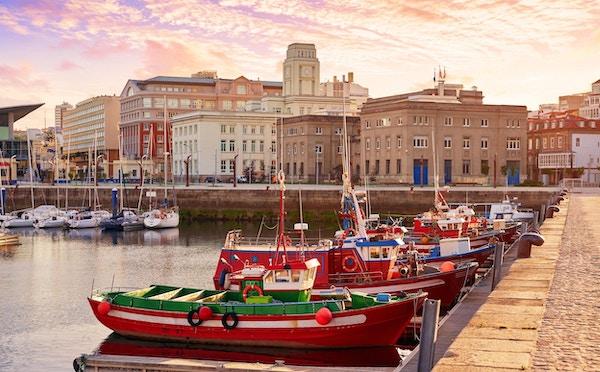 La Coruna havn i Galicia, Spania.