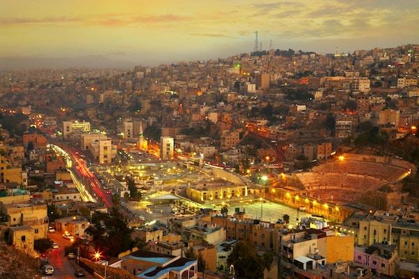Nattlys fra Amman - hovedstaden i Jordan
