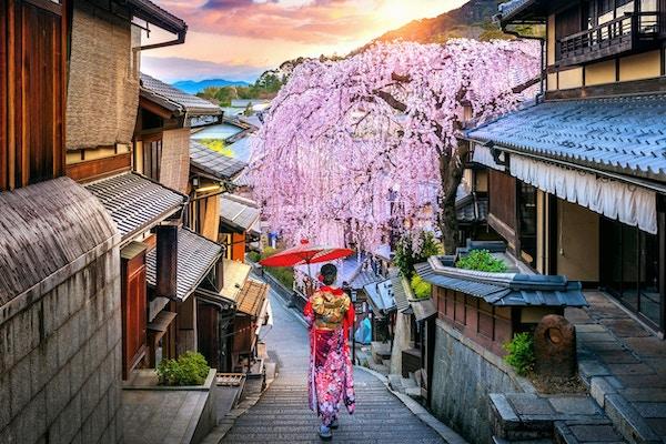 Kvinne som bærer japansk tradisjonell kimono som går i det historiske Higashiyama-distriktet, Kyoto i Japan.