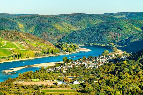 Rhinens store sløyfe ved Boppard i Tyskland
