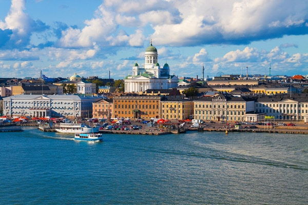 Sommerpanorama av Helsingfors, Finland