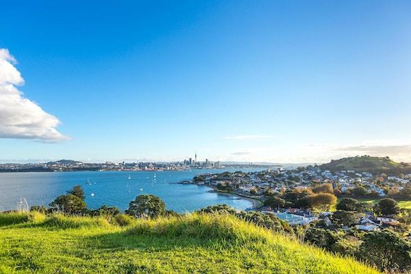 Utsikt, av, Auckland, skyline, og, vulkaner, av, Devonport, fra, det, nordlige hode, fjell, Devonport, Auckland, New Zealand