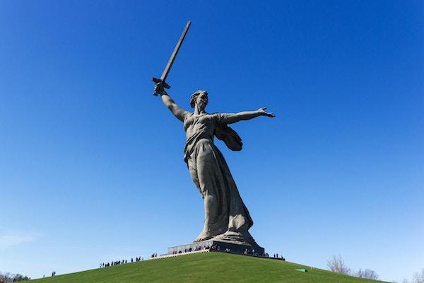 """Monumentet """"the Motherland calls!"""" dedikert til minnet om den store Fedrelandskrigen, lokalisert i territoriet til monumentsamvirket """"Helter av Stalingradslaget"""" på Mamaev Kurgan i Volgograd."""