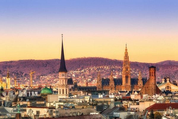 Utsikten på morgenen Wien