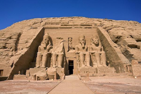 Egypt. Abu Simbel Temple of Rameses II (The Great Temple) ligger på den vestlige bredden av Nasser-sjøen. Abu Simbel-templene er en del av UNESCOs verdensarvliste siden 1979
