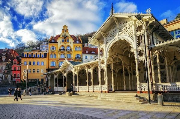 Carlsbad, den berømte spa-byen i det vestlige Böhmen, veldig populært turistmål i Tsjekkia