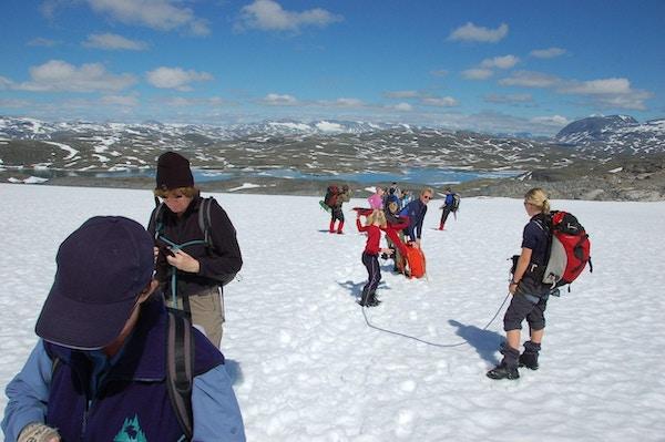 Et reisefølge på tur i solskinn i Sognefjellet