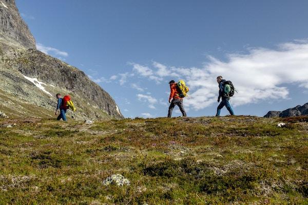 Tre turgåere på tur i fjellet.