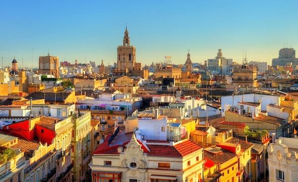Flyfoto av gamlebyen i Valencia fra Serranos Gate - Spania