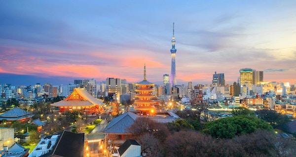 Utsikt over Tokyo-horisonten ved solnedgang i Japan.