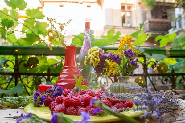 Bringebær på et bord med blomster i koselig uteplass i Odessa