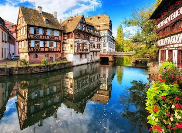 Tradisjonelle bindingsverkshus i distriktet La Petite France, Strasbourg, Frankrike