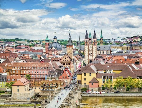 Luftfoto av den historiske byen Wurzburg, regionen Franconia, Nord-Bayern, Tyskland