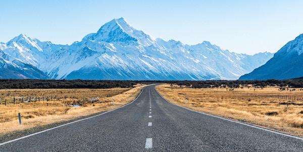 Imponerende fjell i Mt. Cook nasjonalpark.