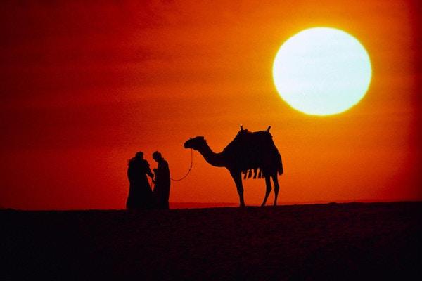 Vakker solnedgang i Jordan.
