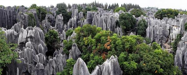 Panoramautsikt av Steinskogen i Kunming, Yunnan, China.