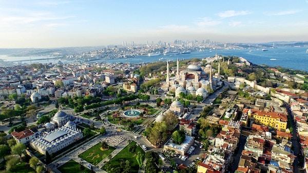 Luftfoto av Istanbul og Bosphorus