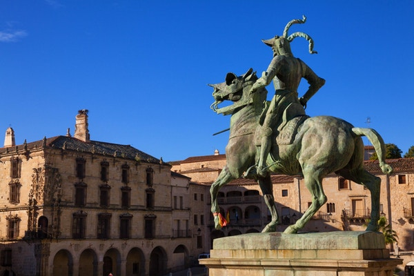 Francisco Pizarro (erobreren av Peru) på Trujillo hovedtorg, provinsen Caceres, Spania