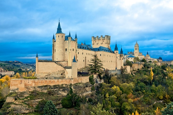 Alcazar slott i Segovia, Spania.