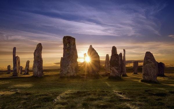 Callanish Stones i solnedgang, Skottland.